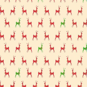 "24""x200ft Roll - 0203 Red & Green Deer Gift Wrap"