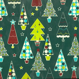 "24""x400ft Roll - 4596 Dotted Trees Gift Wrap"