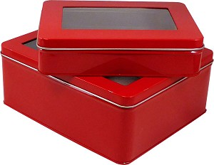 "Red Window Tin Boxes - 6-7/8""x5""x1-5/8"""