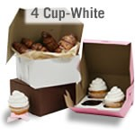 Cupcake Boxes - 4 cup - White
