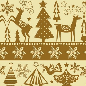 "24""x400ft Roll - 3911 Golden Holidays Gift Wrap"