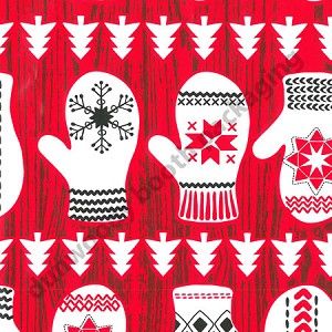"24""x400ft Roll - 3162 Winter Mitts Gift Wrap"