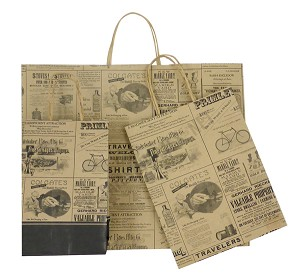 Newsprint Patterned Paper Shopping Bags - Fashion-Tote Size