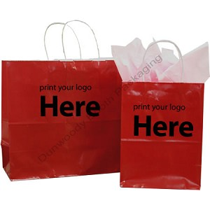 Hot Stamped Custom Printed Paper Shopping Bags - Gloss Colours on White