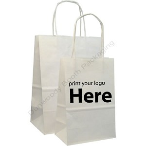Hot Stamped Custom Printed Paper Shopping Bags - Natural Matte White