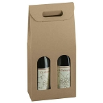 2A603049 - 2 Bottle Kraft Wine Bottle Box Carrier - 7 1/4