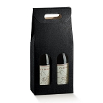 2A603053 - 2 Bottle Black Wine Bottle Box Carrier - 7 1/4