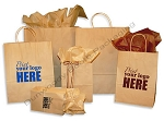 Hot Stamped Custom Printed Paper Shopping Bags - 100% Recycled Kraft