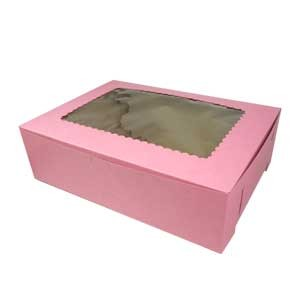Cupcake Bakery Boxes With Window 14x10x4 - 12 cup/24 mini cup - Pink