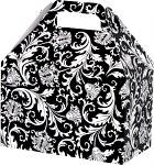 "3A668183 - Gable Boxes - Black & White Damask - 8.5"" x 5"" x 5.5"""