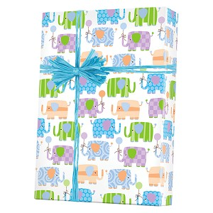 "24""x833ft Roll - 5447 Baby Elephants Gift Wrap"