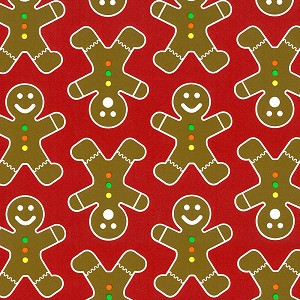 "24""x833ft Roll - 7908C Gingerbread Men Gift Wrap"