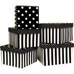 Black And White Stripes Square Nested Boxes