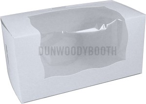 Premium White 8x4x4 Coated Cupcake Boxes With Window - 2 cup