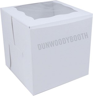 "Premium White 4""x4""x4"" Coated Cupcake Boxes With Window - Single"