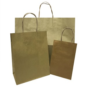 Prime/Gem Metallic Gold Paper Shopping Bags - SKU: 2C669072
