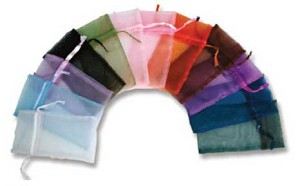 "Organza Bags Assorted Colour - 4"" x 5"" - 12 Per Pack"