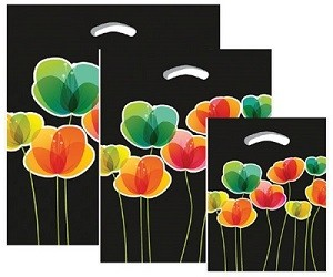 "Black Flora Plastic Design Poly Boutique Bags - 9"" x 11.5"" x 2"""
