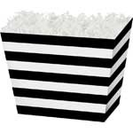 Black Stripe Angled Basket Box 6-3/4