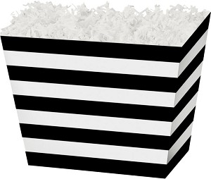 "Black Stripe Angled Basket Box 6-3/4"" x 4-1/2"" x 5"""