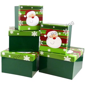 Santa on Green Nested Boxes