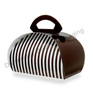 "7""x7""x4"" - Square Chocolate Stripe Bubble Box - Pkg. 10"