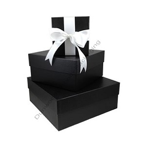 "Square Rigid Boxes - Onyx Embossed - 7""x7""x4"" - Per 10"