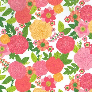 "24""x200ft Roll - 7023 Rose Floral Gift Wrap"