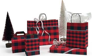 "8"" x 4-3/4"" x 10-1/2"" Festive Flannel Paper Shopping Bag"