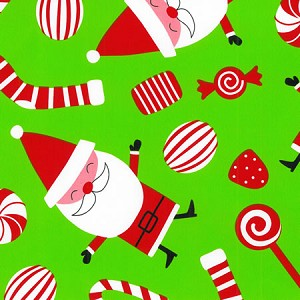 "24""x200ft Roll - 4247 Peppermint Santa Gift Wrap"