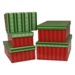 Green Stripe Snowflakes Rectangle Nested Boxes