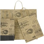 Newsprint Patterned Paper Shopping Bags - Petite-Tempo Size