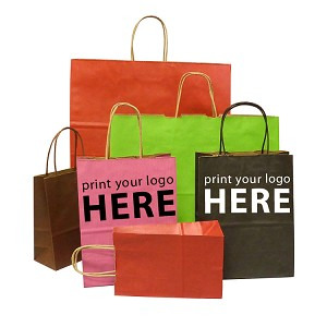 Hot Stamped Custom Printed Paper Shopping Bags - Colours