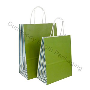 Stripes DuJour Gusset Printed Paper Bags - Fashion-Tote
