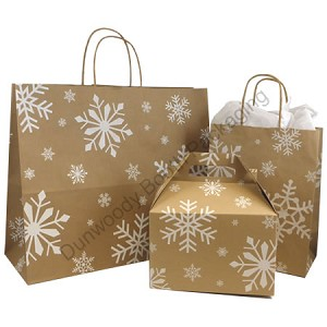 "Snowday Paper Shopping Bags - 8"" x 4-3/4"" x 10-1/2"""