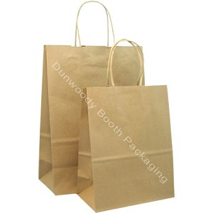 100% Recycled Kraft Paper Shopping Bags - Per 100 - Vanity/Missy