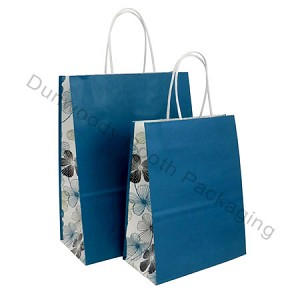 Floral Lines Gusset Printed Paper Bags - Fashion-Tote