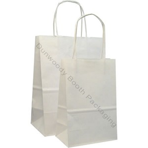 Matte White Paper Shopping Bags - Per Case 250 - Jr Mart