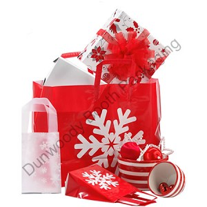 "Big Snowflake Frosted Shopping Bags - 16"" x 6"" x 12"""