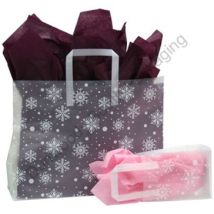 "Snowflake Frosted Shopping Bags - 5"" x 3"" x 7"""