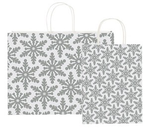 "Shimmering Snowflake Holiday Paper Shopping Bags - 16"" x 12-1/2"" x 6"""