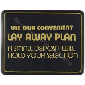 "Plastic Policy Cards - ""Use our Conveinient Lay Away Plan"""