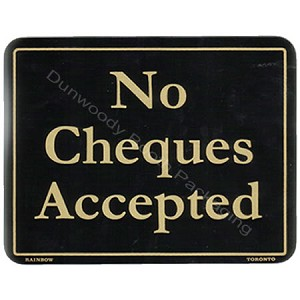 "Plastic Policy Cards - ""No Cheques Accepted"""