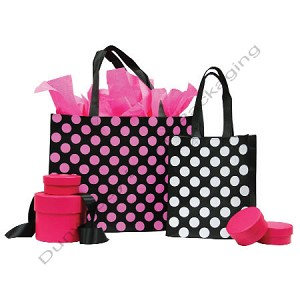 "Polka Dot Fabtex Bag - Petite - White Dots on Black - 8""x4""x10"""