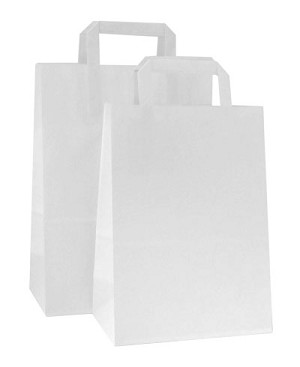 HD Square Handle Recycled White Paper Shopping Bags - Per 100 - Jr Mart