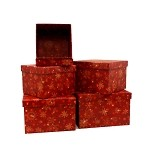 Snowflakes on Red Square Nested Boxes per set 5