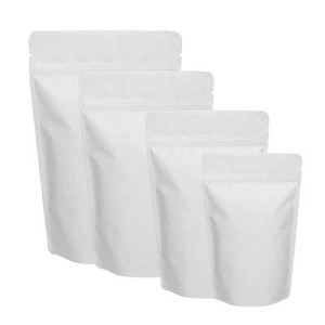 150g Matte White 5 Mil Stand Up Pouch w/ Zipper per 100