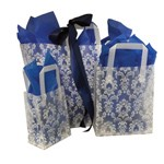 White Damask Frosted Shoppers - 8